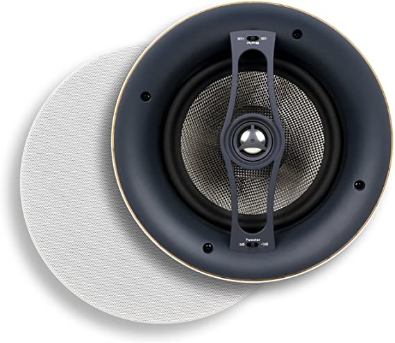 Each, White Renewed Micca M-8C 8 Inch 2-Way in-Ceiling in-Wall Speaker with Pivoting 1 Silk Dome Tweeter