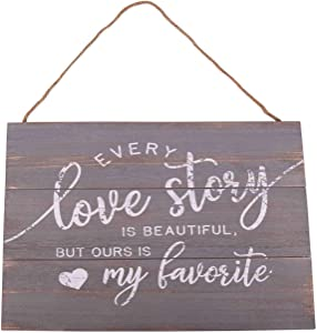 GSM Brands Love Story Wood Plank Hanging Sign (15.75x13)