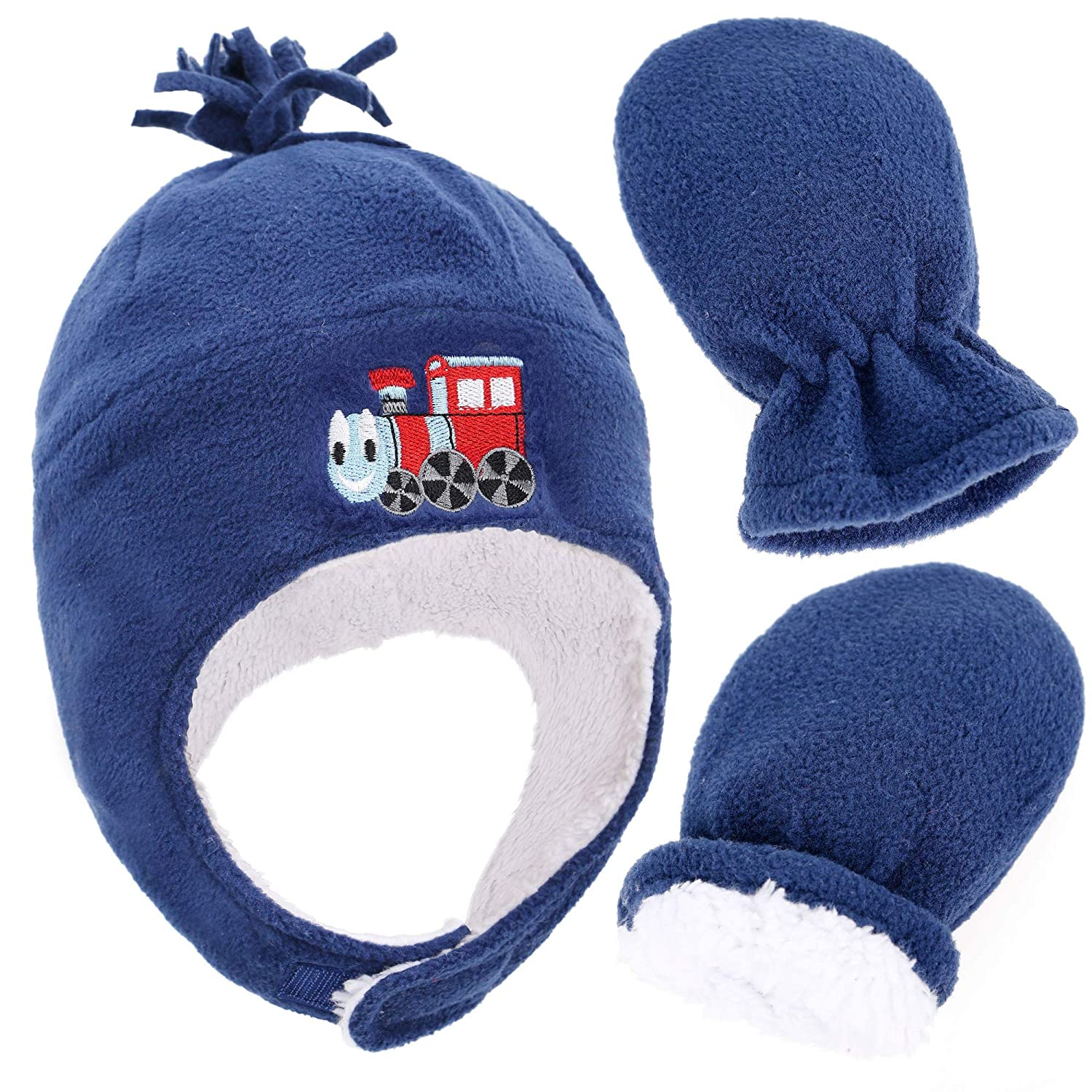 SimpliKids Kids and Toddlers Sherpa Lined Embroidered Fleece Hat and Mitten Set