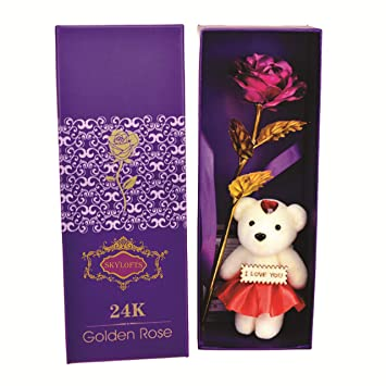24K Pink Rose With I Love You Teddy Bear Doll Gift Box And Carry Bag