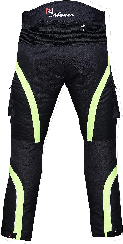 NORMAN Motorbike Motorcycle Waterproof Cordura Textile Trousers Pants Armours Black//Hiviz Green
