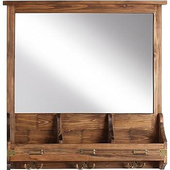 rustic wood mirror living room kate and laurel 209304 stallard decorative rustic wood mirror wall home organizerrustic brown amazoncom