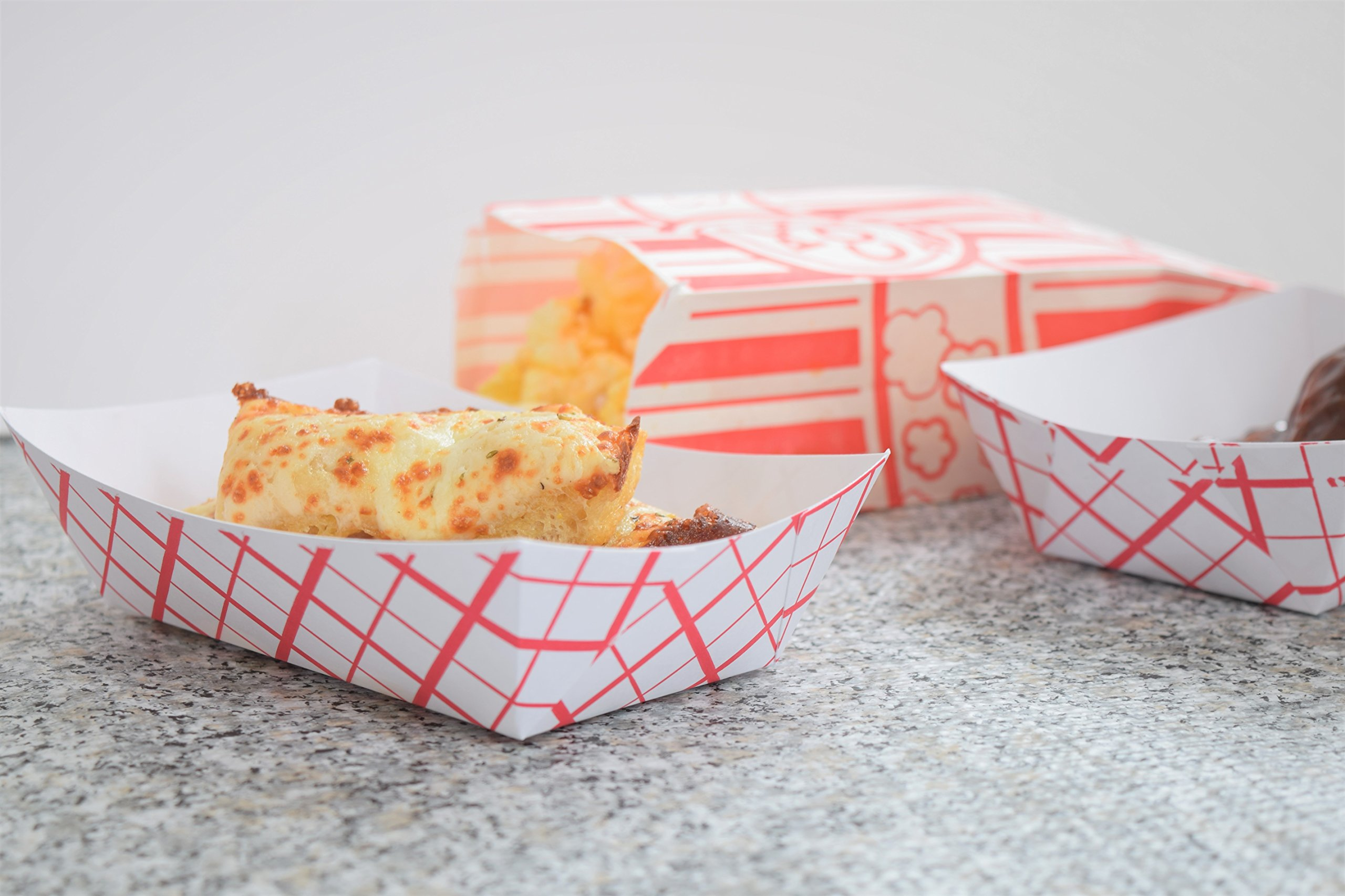100 Red / White Food Trays (2 lb) WITH 100 Popcorn Bags (1 oz)