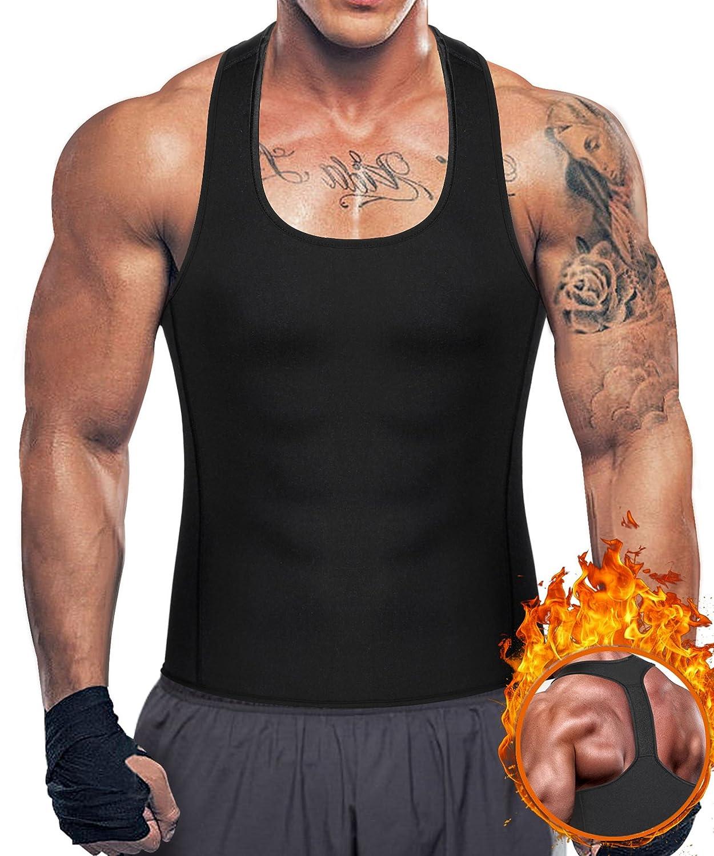 Bingrong Men's Weight Loss Sweat Sauna Vest Neoprene Workout Tank Top Y-Back Slimming Waist Trainer Without Zip