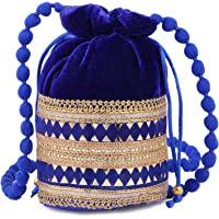 Gaurapakhi Traditional Ethnic Rajasthani Velvet Potli Bag- Embroidered Hand Purse | Pouches for Women & Girls