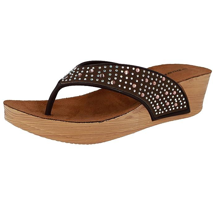 Damen Low Wedge Fit Flip Flop Toe Post Kristall Sandalen Schuhe  Red