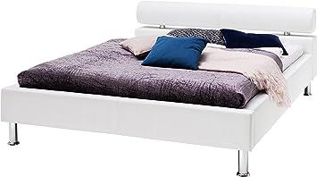 Sette Notti Polsterbett Bett 180x200 Weiss Kunstleder Bett