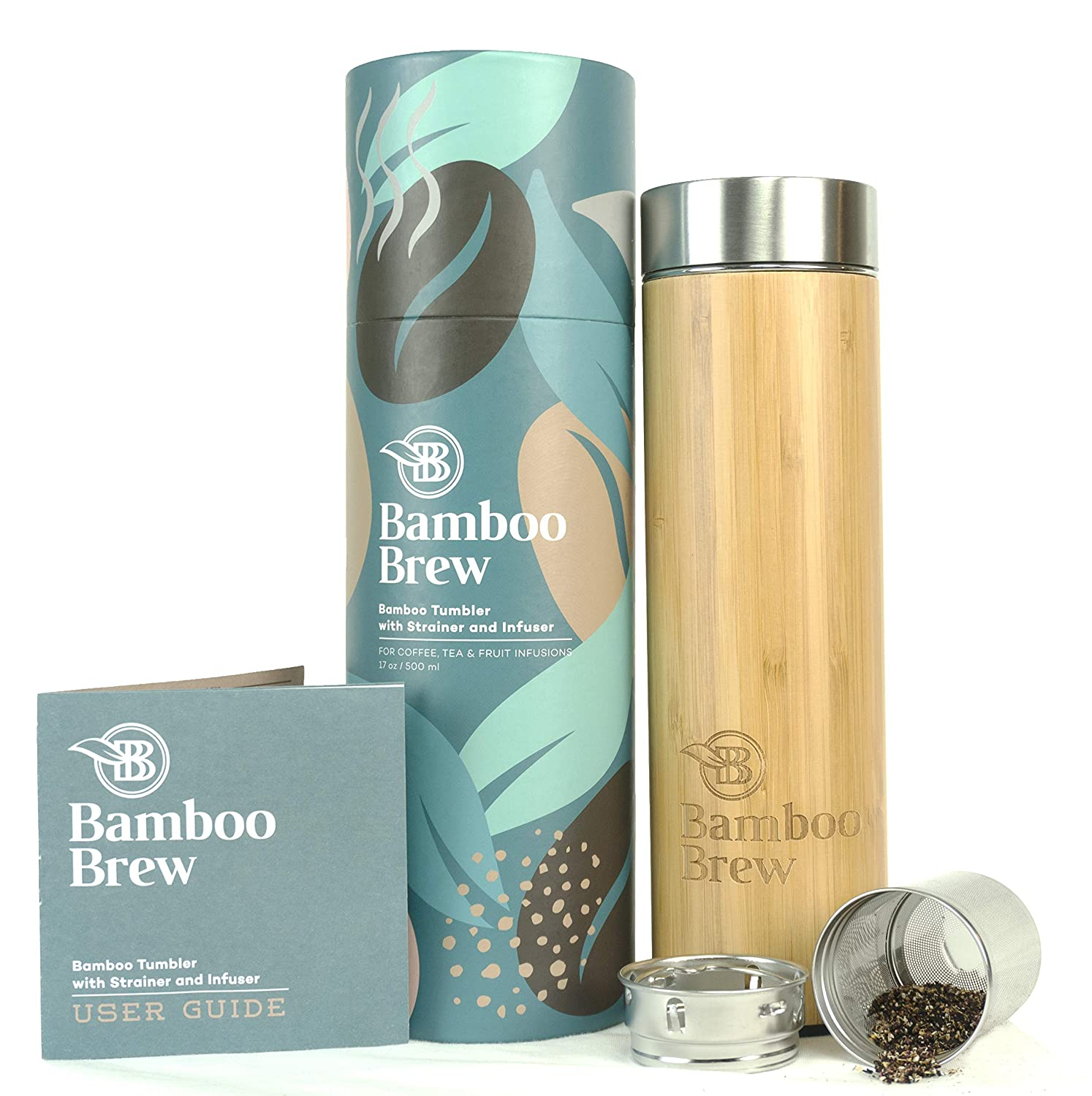 Bamboo Tumbler with Infuser & Strainer 17oz | Stainless Steel Coffee & Tea Flask | Double Wall Vacuum Insulated Travel Mug | Loose Leaf Detox Brew & Fruit Infusions | Brand New Gorgeous Packaging Oakleaf International