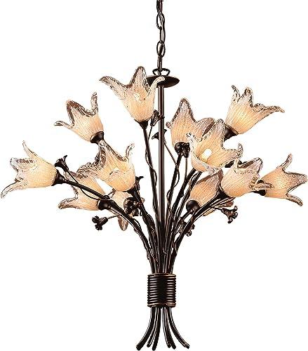 Elk Lighting 7959 8 4 Fioritura – Twelve Light Chandelier, Aged Bronze Finish with Hand Blown Tulip Glass