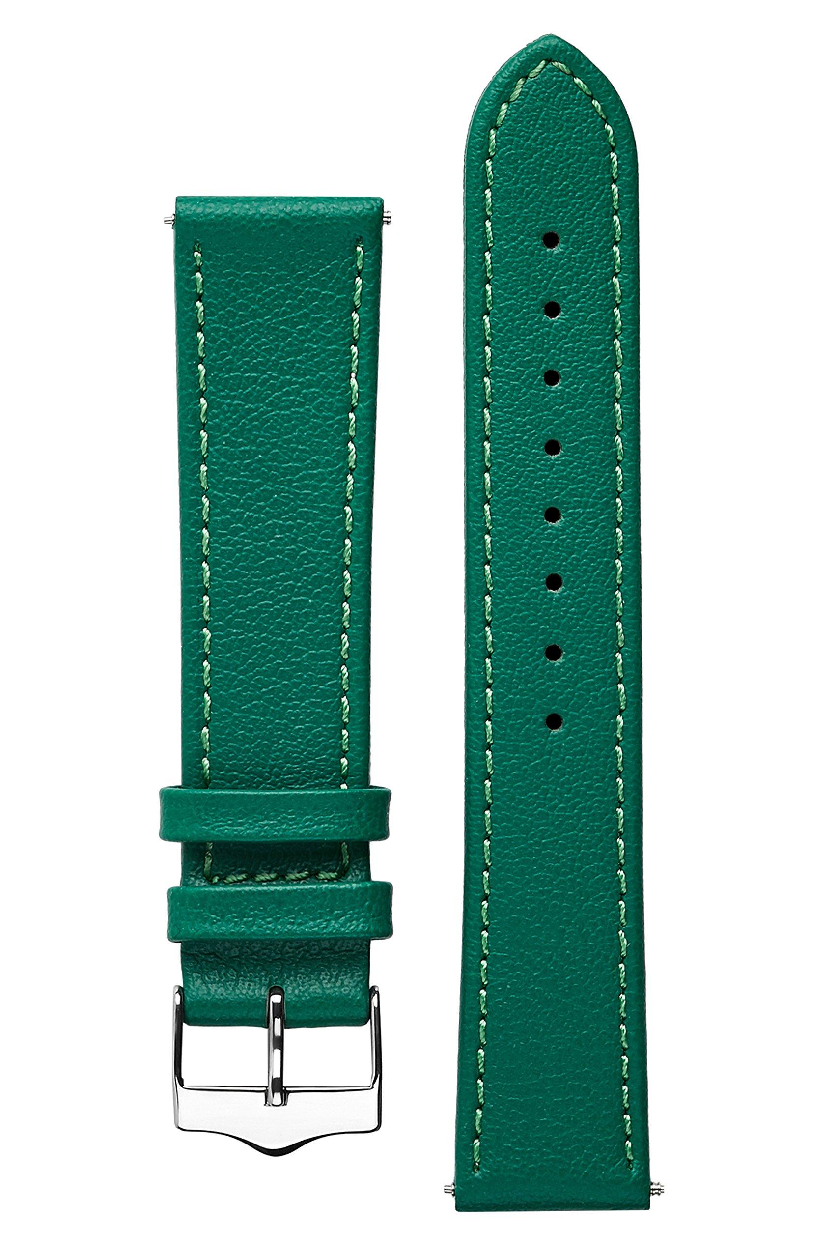 Signature Seasons in green 20 mm short watch band. Replacement watch strap. Genuine leather. Steel Buckle