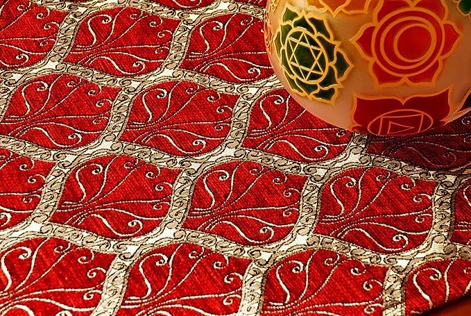Camino de mesa, Diseño de pavo real, Rojo, (228x37 cm): Amazon.es ...