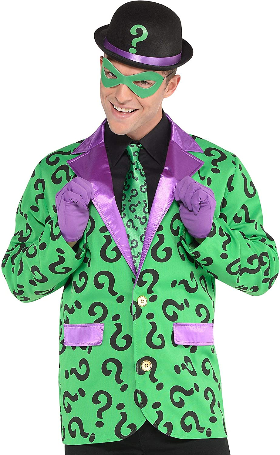 Suit Yourself Riddler Costume Accessory Kit for Adults, Batman Villain, One Size, Includes Hat, Tie, Gloves and Mask
