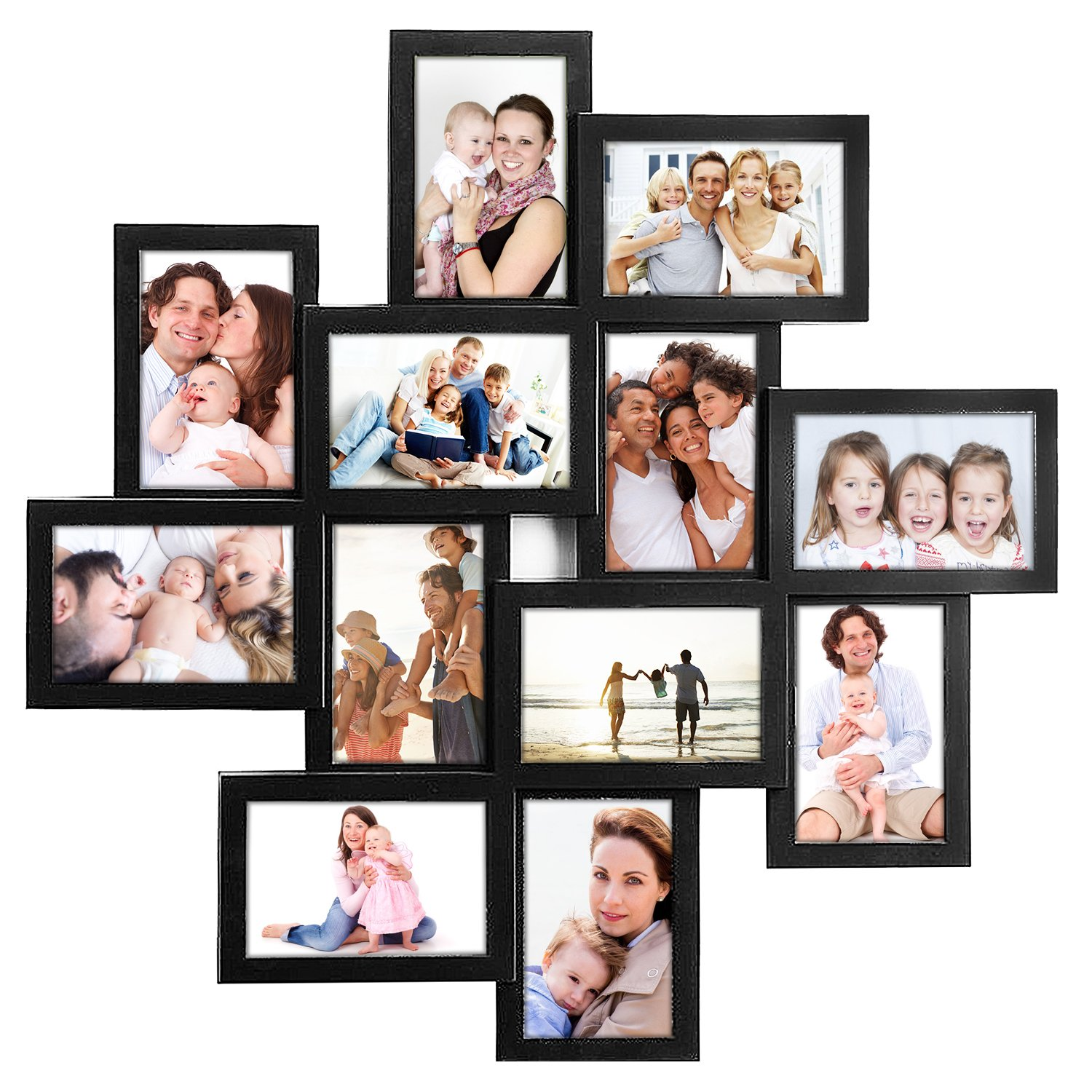 Jerry & Maggie - Photo Frame 24x24 Square Storm Eye Black PVC Picture Frame Selfie Gallery Collage Wall Hanging for 6x4 Photo - 12 Photo Sockets - Wall Mounting Design by Jerry & Maggie