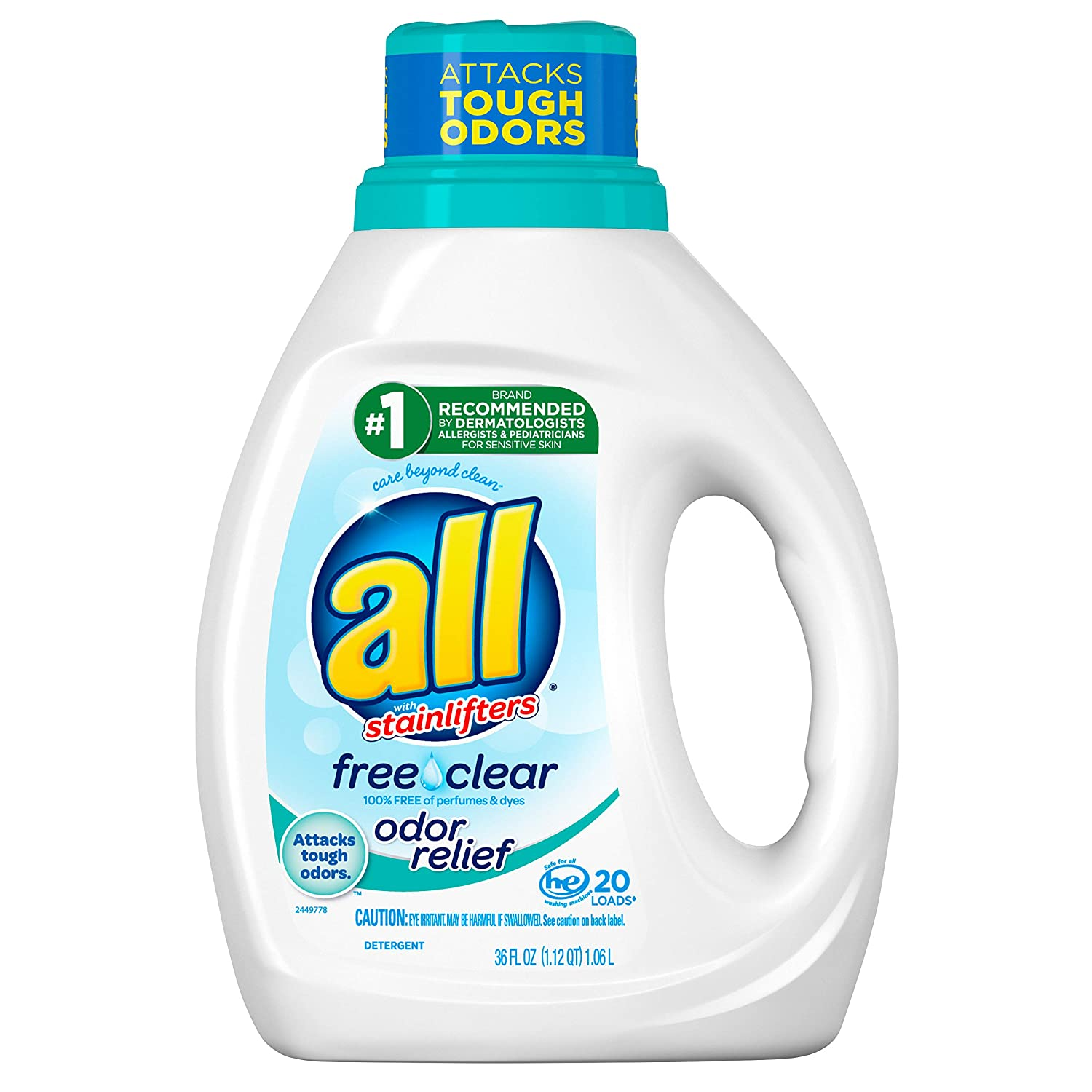 All Liquid Laundry Detergent, Free Clear with Odor Relief, 20 Loads, 36 fl oz