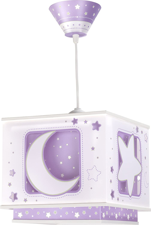 Dalber Fluoreszierende Hängelampe Mond und Stern, lila 63232L ...