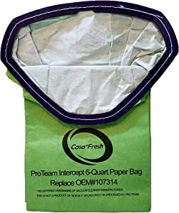 Casa Fresh (CV107314 10 PK Replacement for ProTeam ProVac FS 6 Compatible to 107314 with Intercept Micro Filter Backpack Vacuum Bags 6-Qt Capacity. Fits Super Coach Pro 6 - GoFree Flex Pro.