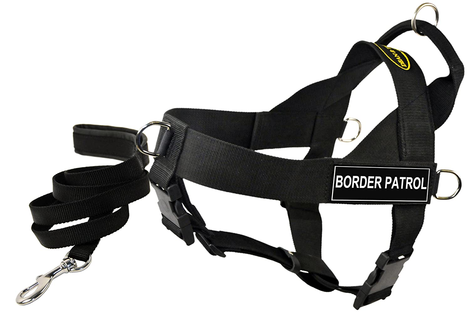 Dean & Tyler Bundle Universal Harness Border Patrol, Large, 31 to 42-Inch with Padded Puppy Leash and 6-Feet Stainless Steel Snap, Black
