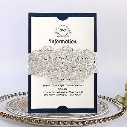Amazon Com Cjjc Heart Shaped Wedding Invitations Sequines Handmade