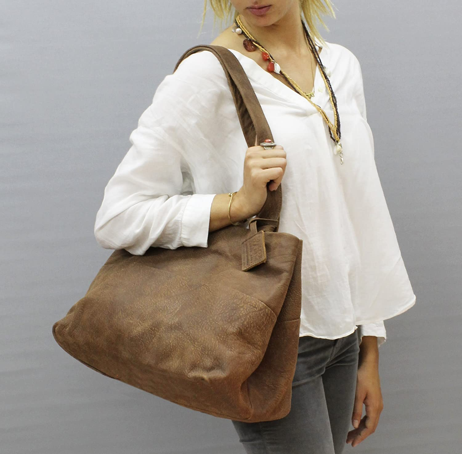 3a199ee328 Amazon.com  Large leather tote bag Distressed brown purse Handmade soft  handbag hobo  Handmade