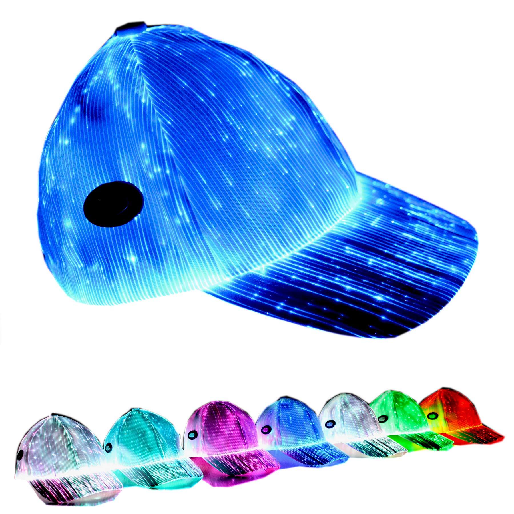 Baseball Caps Flashing Optical Fiber Fabric Baseball Hat Light Up Luminescent Fiber Light Up 7 Colors LED Flash Light RGB Colors a Hat Has 7 Colors White by GALEXBIT