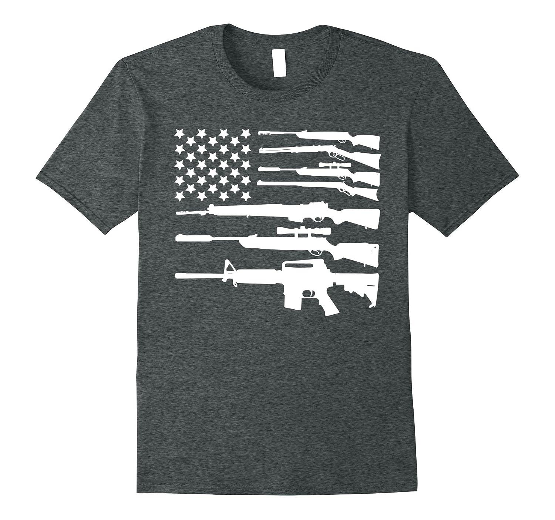 Guns American Flag Military Freedom Shooting Gun TShirt