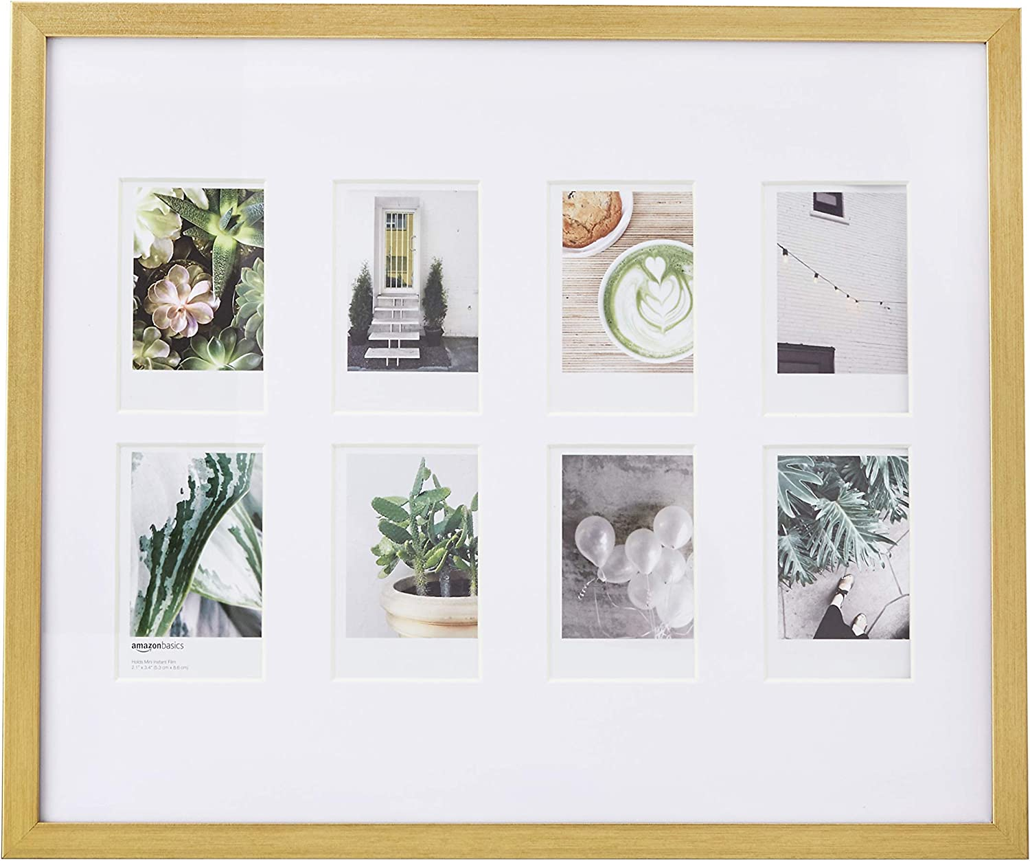 """AmazonBasics Photo Frame for use with Instax - 8-Opening - 3.25""""x2"""", Brass"""