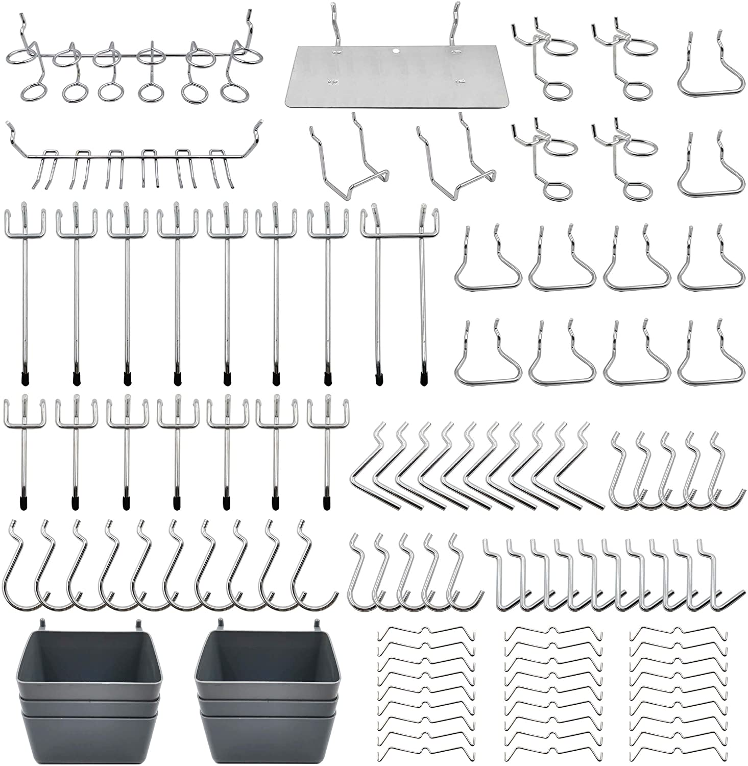 Pegboard Hooks Assortment with Pegboard Bins, Peg Locks, for Organizing Various Tools, 140 Piece