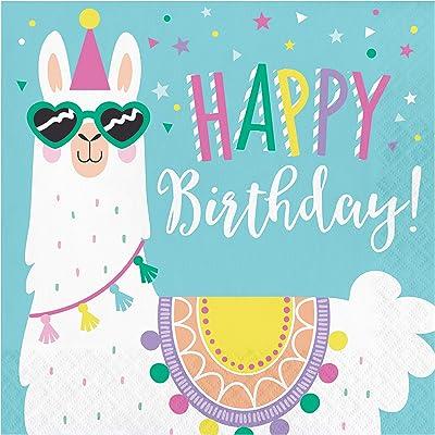 Llama Party Happy Birthday Napkins, 48 ct: Toys & Games