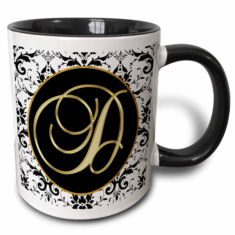 3drose Fancy Monograms – イメージのスクリプト文字Dのブラックホワイトとゴールド – マグカップ 11 oz mug_256269_4 B074XRZPQT  11 oz