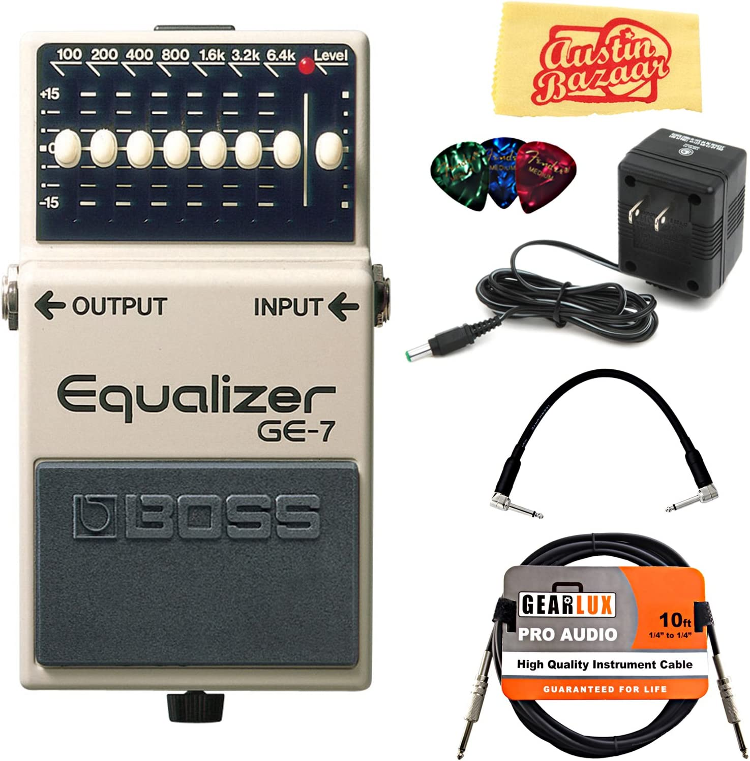 BOSS GE-7 Graphic Equalizer Bundle with Power Supply, Instrument Cable, Patch Cable, Picks, and Austin Bazaar Polishing Cloth