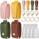 Hand Sanitizer Keychain Holder, Airoak 4 Pack Small Empty Travel Size Reusable Flip Cap Bottle for Soap Liquids Shampoo…
