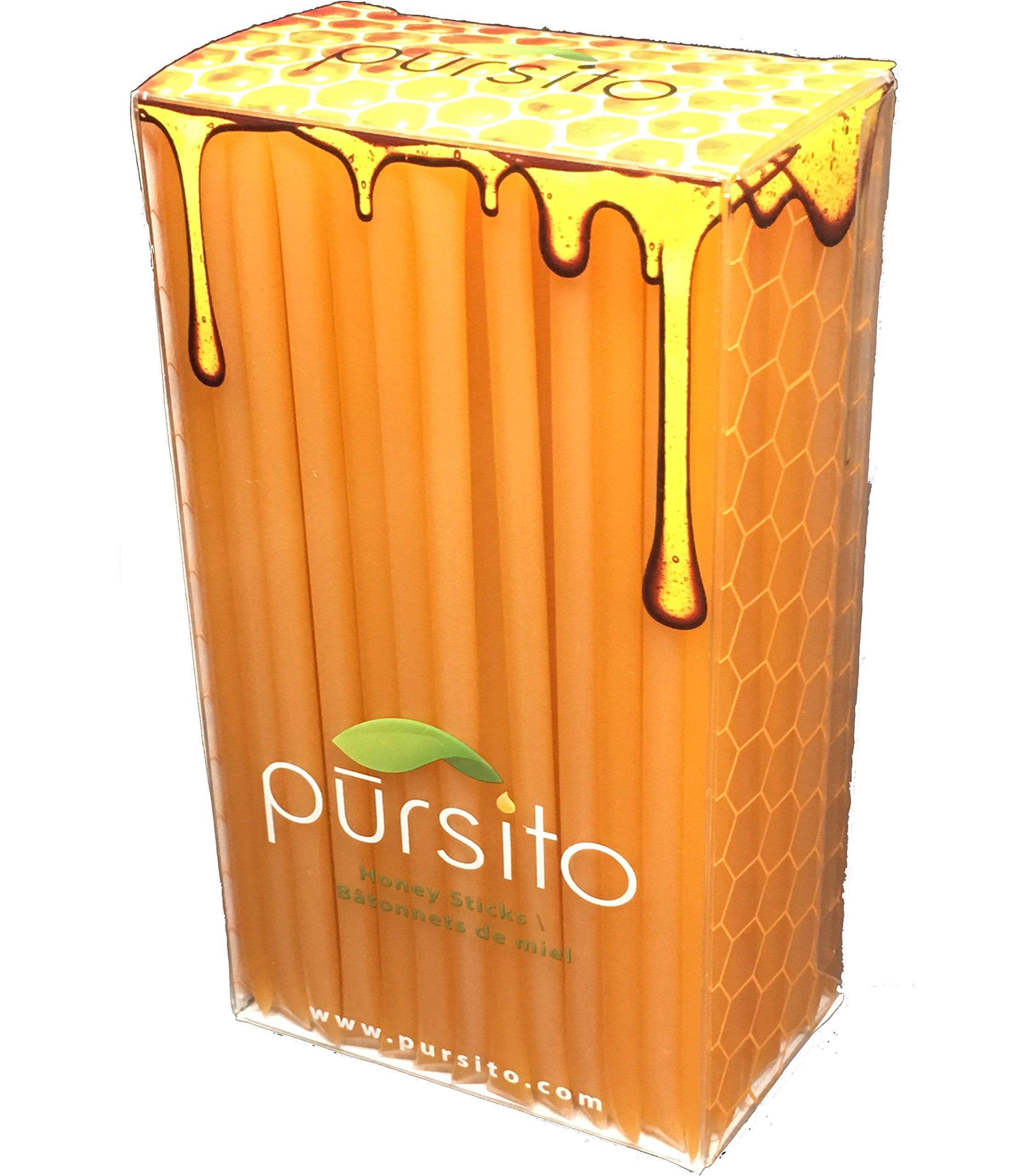 Peach Honey Sticks 100 Flavored Bulk Honey Stix or Honey Straws Honey Stick for Tea, Coffee or Snacking Pursito Brand Honeystix