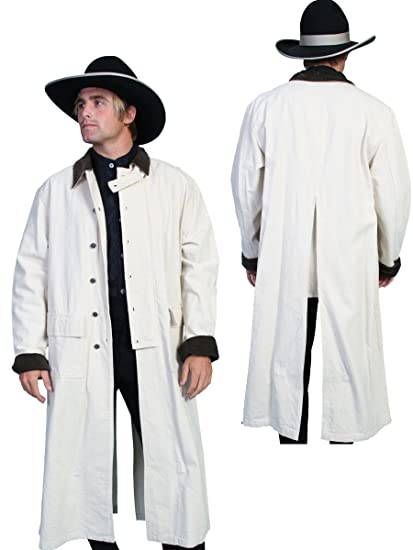 Victorian Men's Clothing, Fashion – 1840 to 1900 White  Long Canvas Duster  AT vintagedancer.com