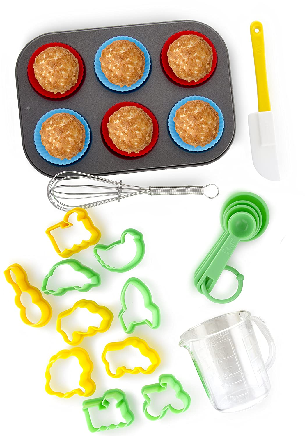 24-Piece Kids Baking Set by Boxiki Kitchen | Muffin Pan, 6 Silicone Cupcake Liners, 10 Cookie Cutters, Spatula, Egg Whisk, Mini Measuring Cup and 4 Measuring Spoons SYNCHKG110758