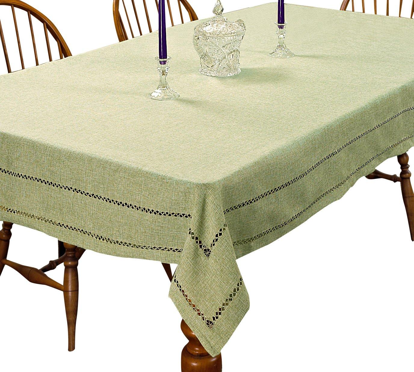 Violet Linen Hem Stitch Embroidered Vintage Design Oblong//Rectangle Tablecloth 60 X 84 Blue HEM STITCH BL-4