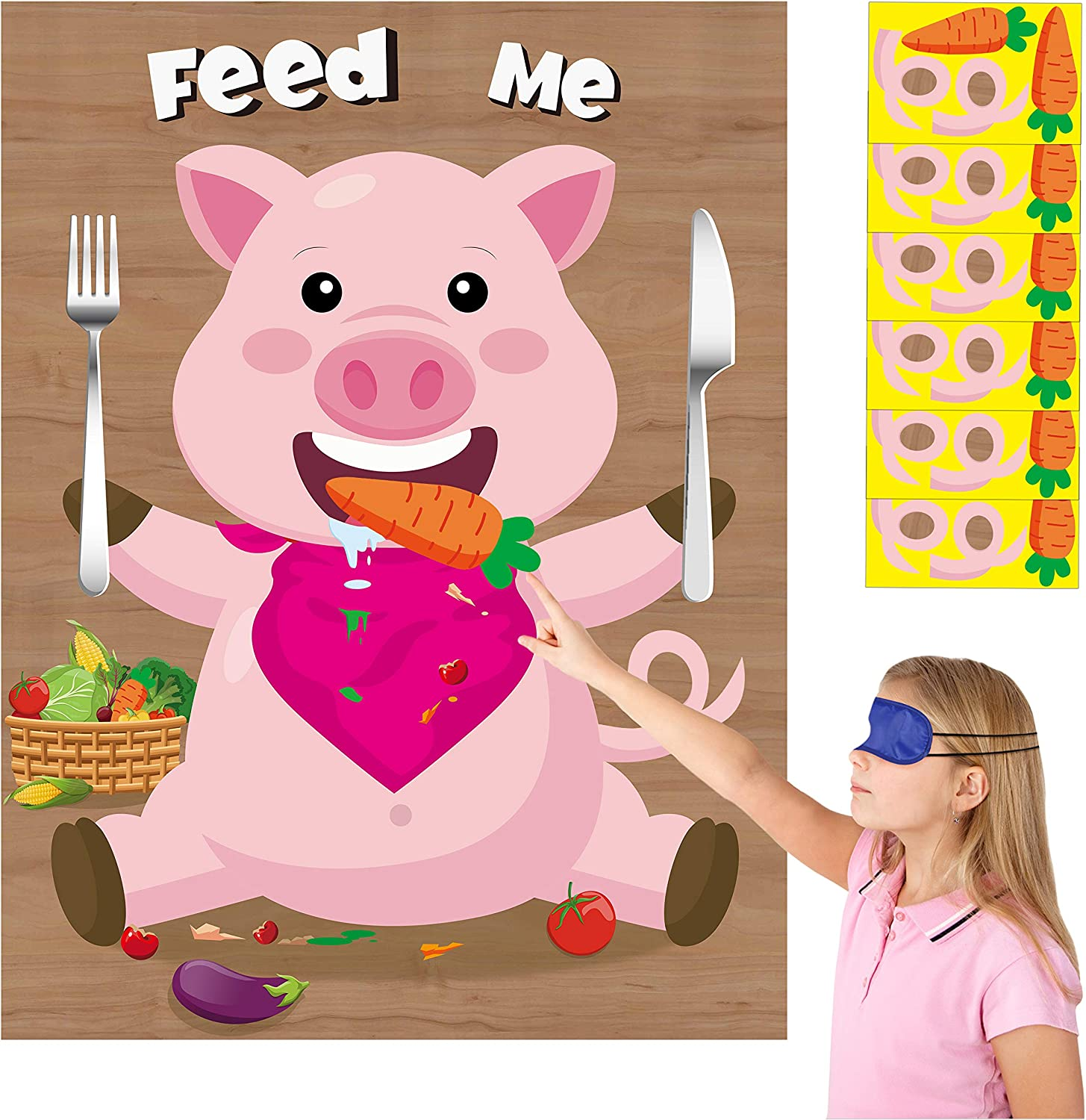 Amazon Com Mallmall6 Cartoon Pig Stickers Party Games For Kids Pin The Pig Tail On The Piggy Feed The Pig With Carrot Birthday Party Favors Baby Shower Party Supplies Decorations Pin Game Poster