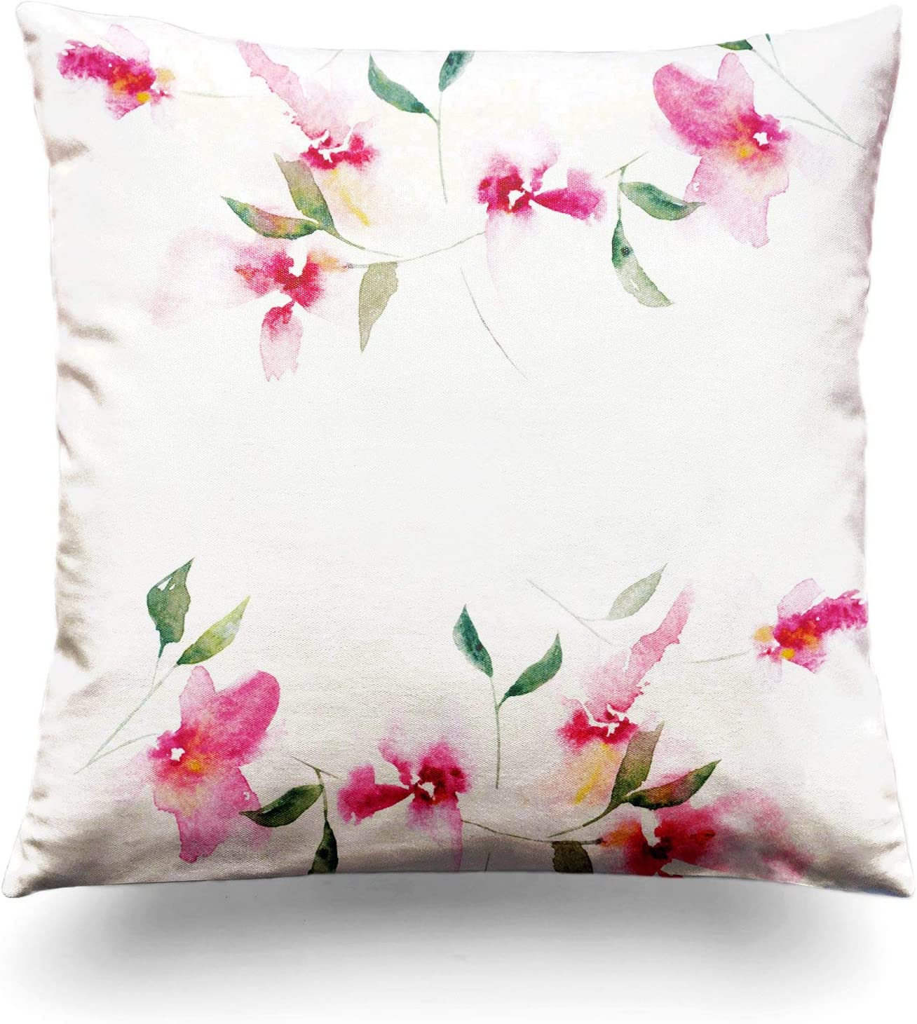 Assp Throw Pillow Cover Banner Floral Background Watercolor Bouquet Birthday Card Beauty Blossom Bud 18x18 Inches Home Decorative Square Pillow Case Cushion Cover Home Kitchen