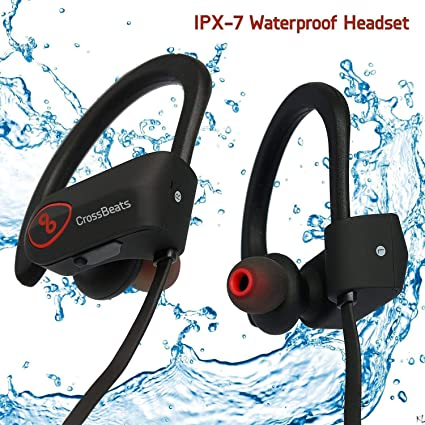 CrossBeats Wave Waterproof Bluetooth Wireless Earphones For Mobile With Mic And Carry Case Black