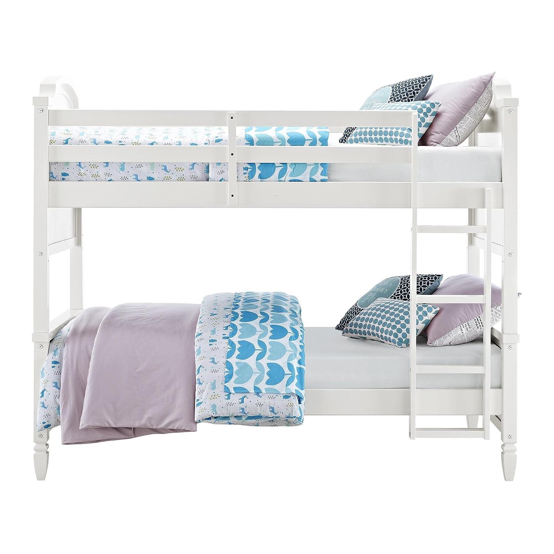 Amazon Com Dorel Living Vivienne Twin Over Twin Bunk Bed White
