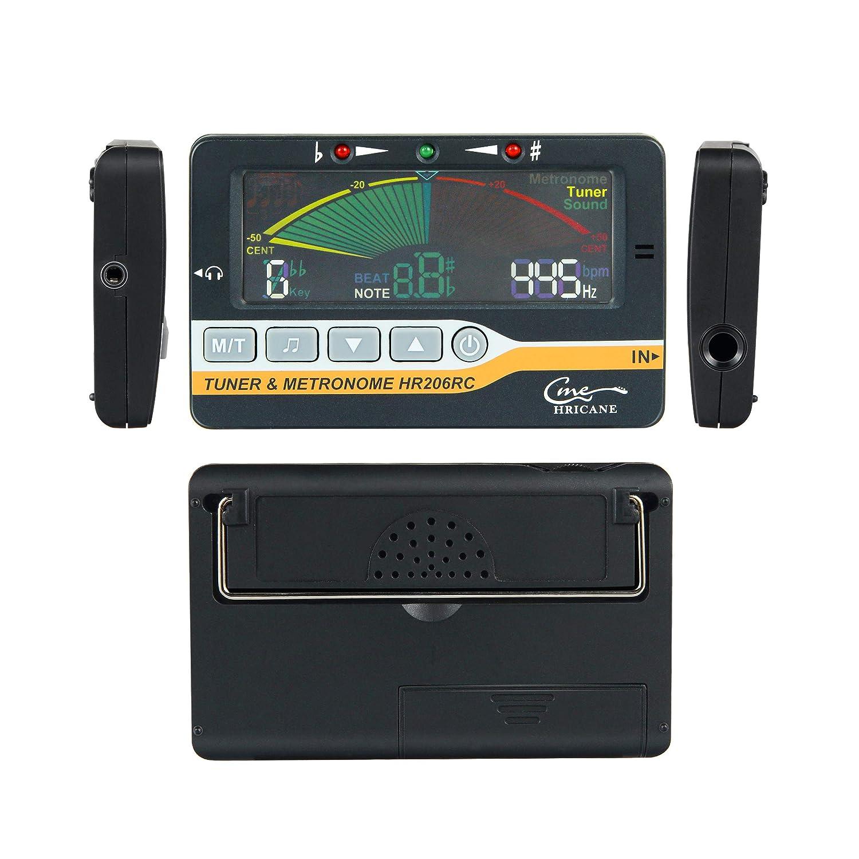 3 in 1 Hricane 3 in 1 Sintonizzatore con Display LCD con 3 Modalit/à di Sintonizzazione: Metronomo Sintonizzatore e modalit/à audio Nero Metronomo ed Accordatore per Chitarra