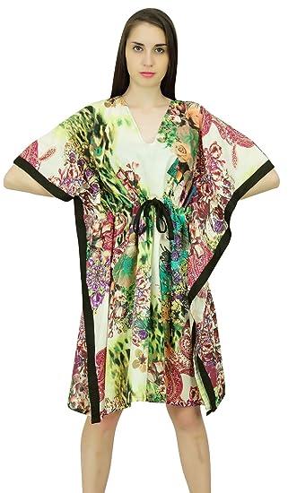3a5819a35f Phagun Floral Pattern Caftan Cotton Bohemian Kaftan Short Maxi Nightwear  Dress at Amazon Women's Clothing store: