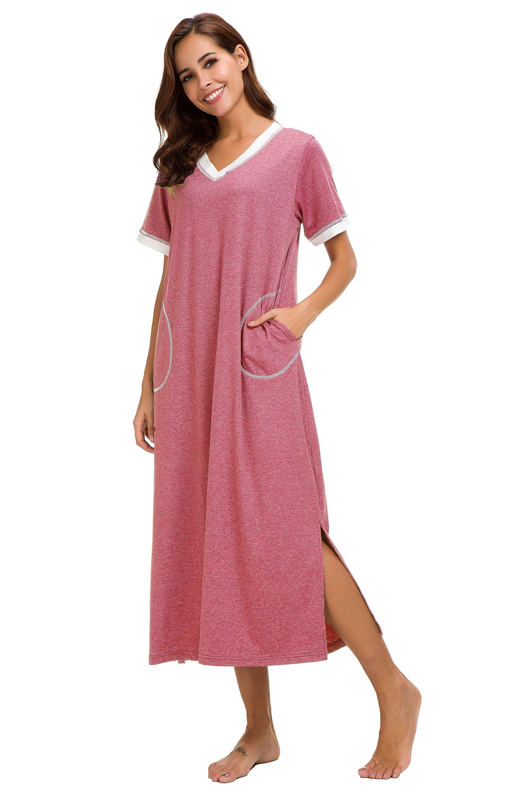 Aviier Supersoft Maxi Sleepshirt with Pockets, Nightgowns for Women Short Sleeve Cotton Nightshirts Sleepwear (XXL, Red) by Aviier (Image #3)