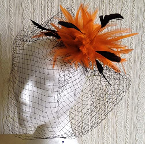 orange fascinator millinery feather brooch clip wedding ascot hat hair piece