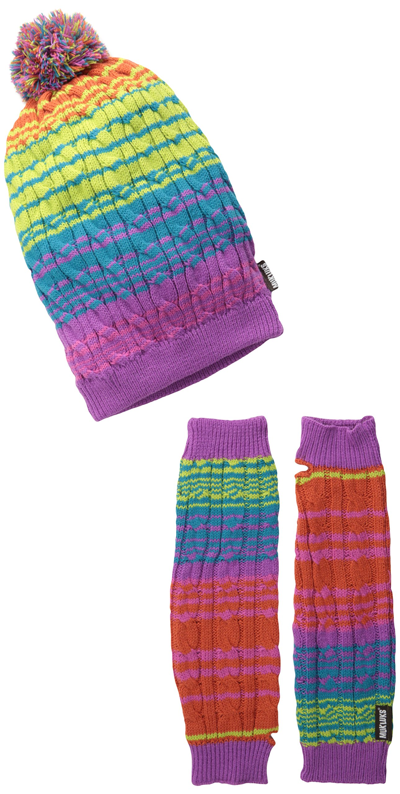 Muk Luks Women's Candy Coated Beanie and Armwarmer Set, Multi, One Size