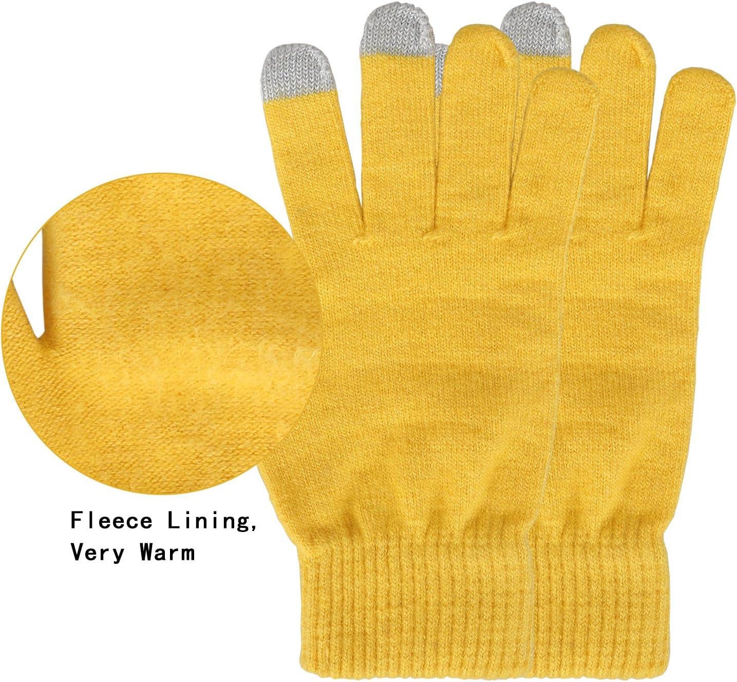 Magic Zone Damen Winterhandschuhe Stretch Kaschmir Handschuhe Touchscreen Handschuhe Damen Volltonfarbe Warm Gestrickte Dicke Warme Handschuhe
