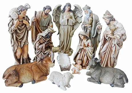 12 inch christmas nativity scenes statues 11 pieces manager set resin stable set nativity set - Christmas Nativity Scenes