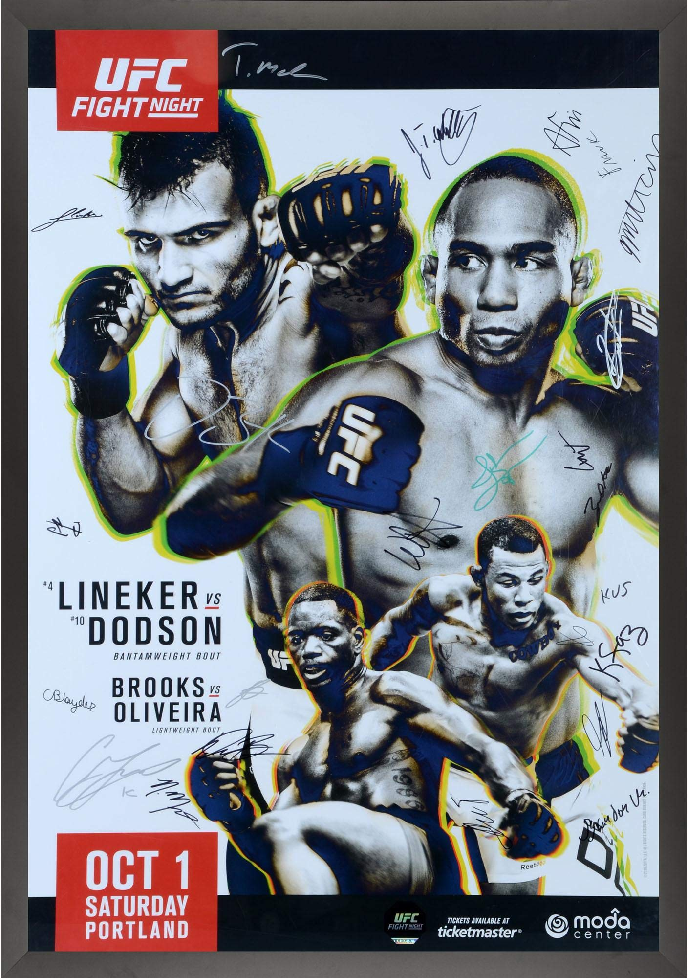 """UFC Fight Night 96 Lineker vs. Dodson Framed Autographed 27"""" x 39"""" 24 Signature Fight Poster Fanatics Authentic Certified"""