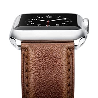 Benuo Watch Strap For Apple Watch Series 4, 44mm 42mm Premium Genuine Leather Band With Secure Buckle Adapter For I Watch Series 4/3/2/1/44mm/42mm (Dark Brown) by Benuo