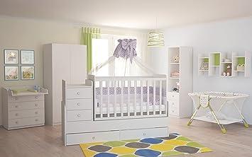 Babyzimmer komplett set  Polini Kids Babyzimmer Kinderzimmer komplett Set weiß 4-teilig mit ...