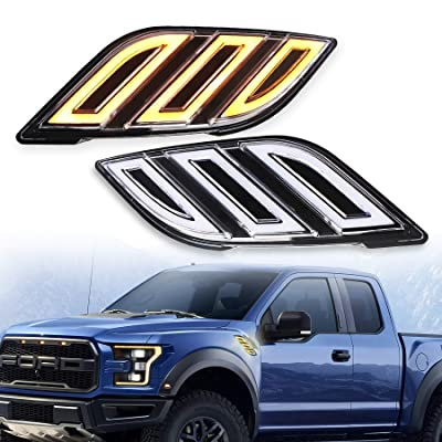Ford Raptor Led Lights, Side Fender Vents Lamps with White DRL Amber Sequential Turn Signal for 2020-up Ford F150 Raptor 2PCS: Automotive